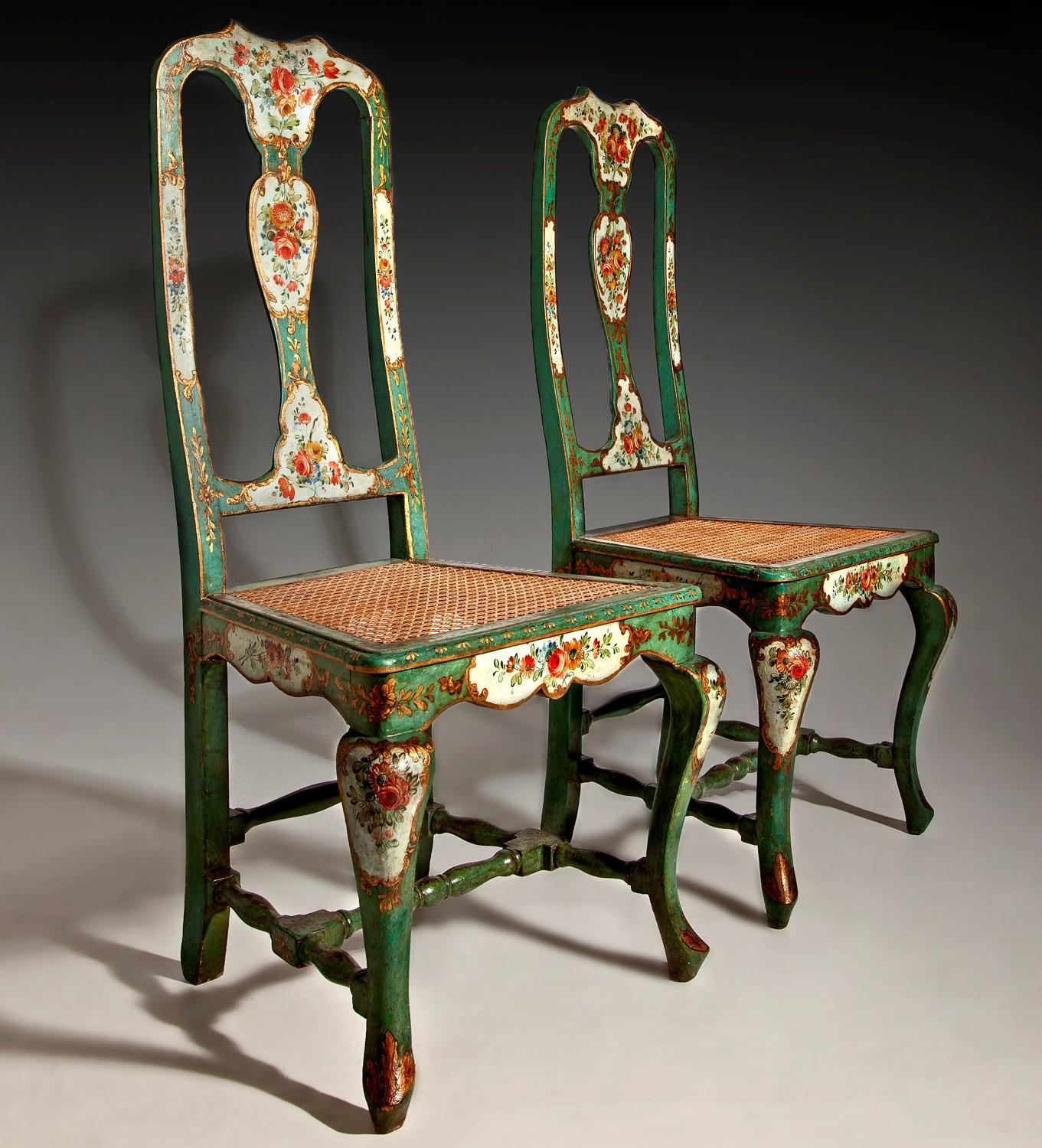 Beautiful pair of Venetian painted Chairs