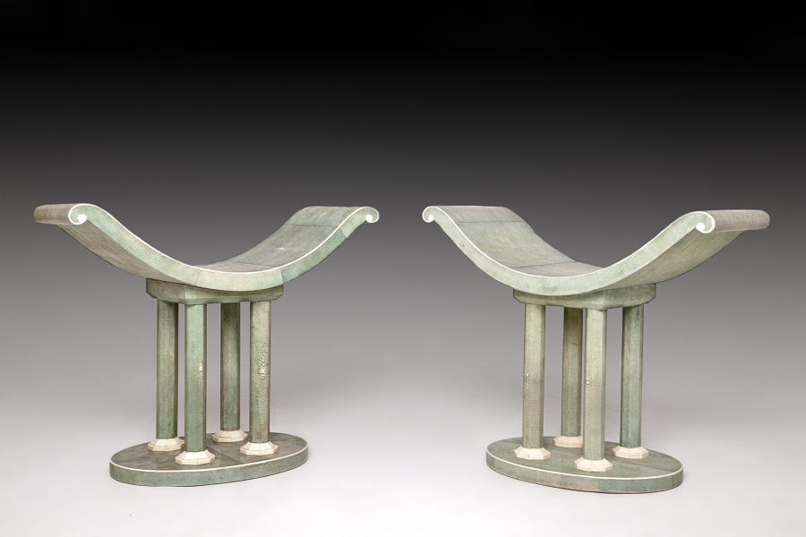 A rare pair of shagreen benches