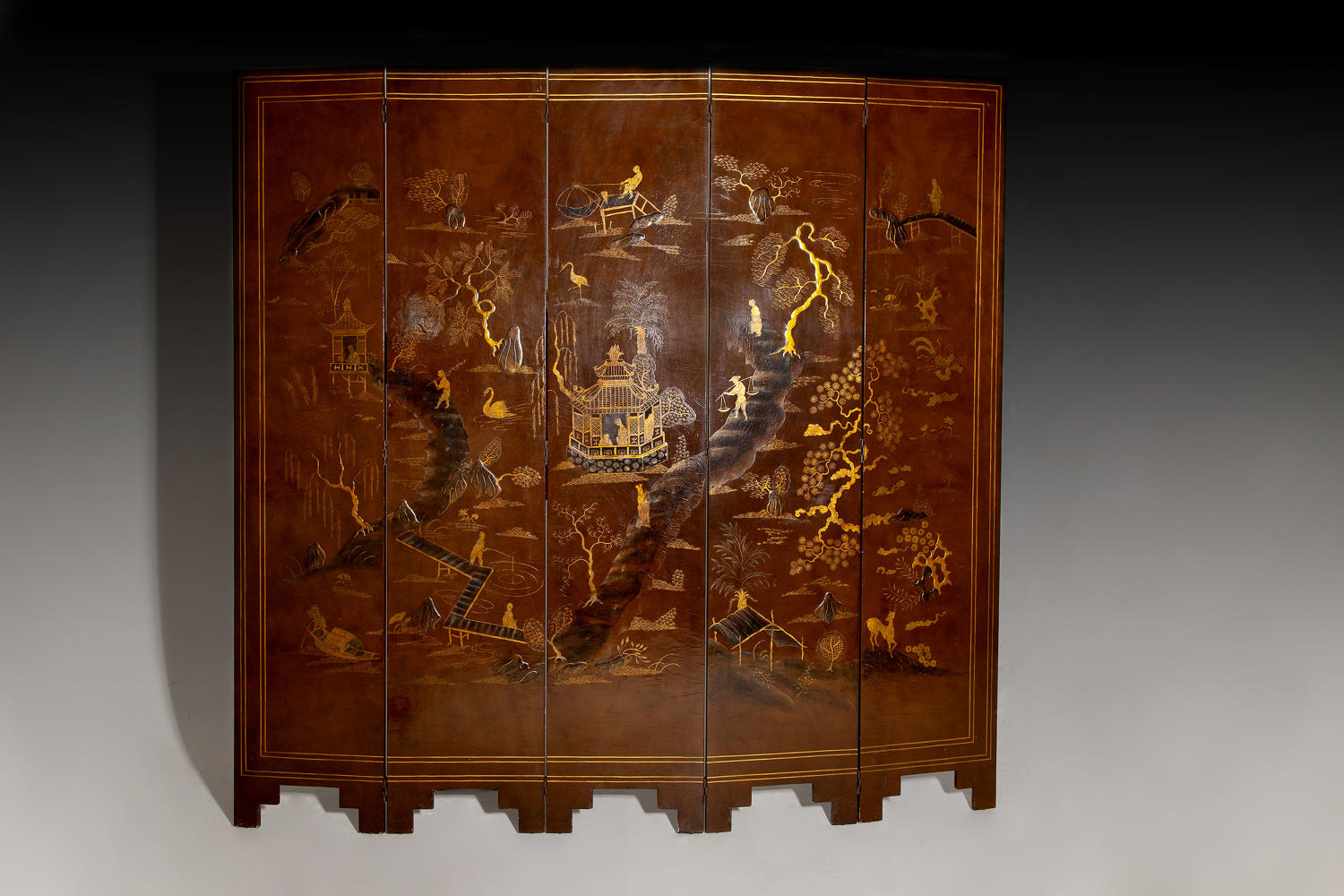An early 20th century lacquer screen by Maison Jansen