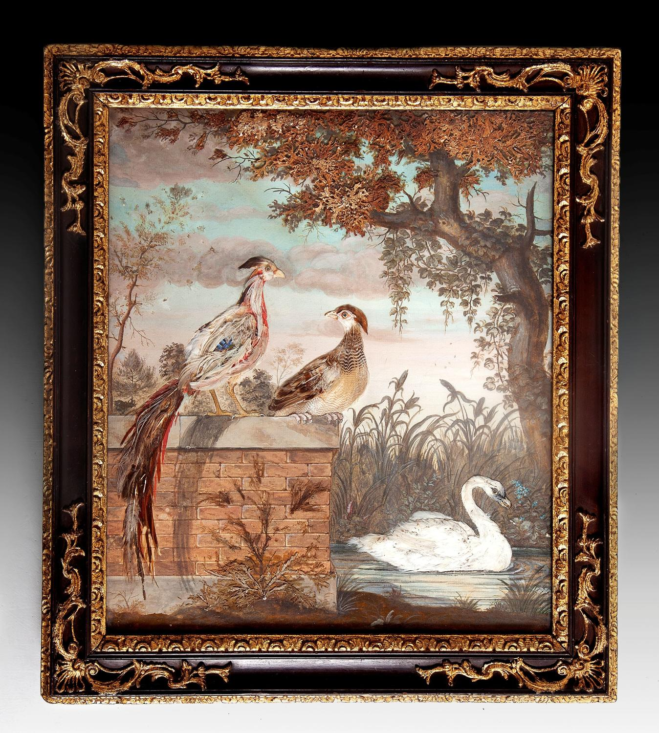 George 11 featherwork painting in original rococo frame