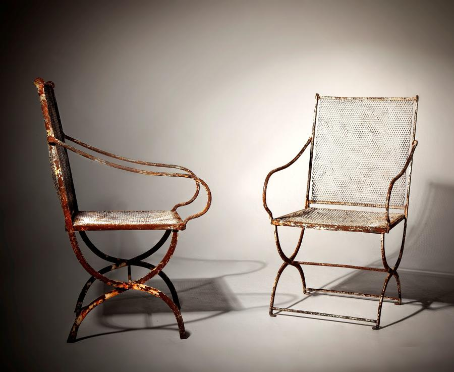 A pr of early 20th century garden chairs