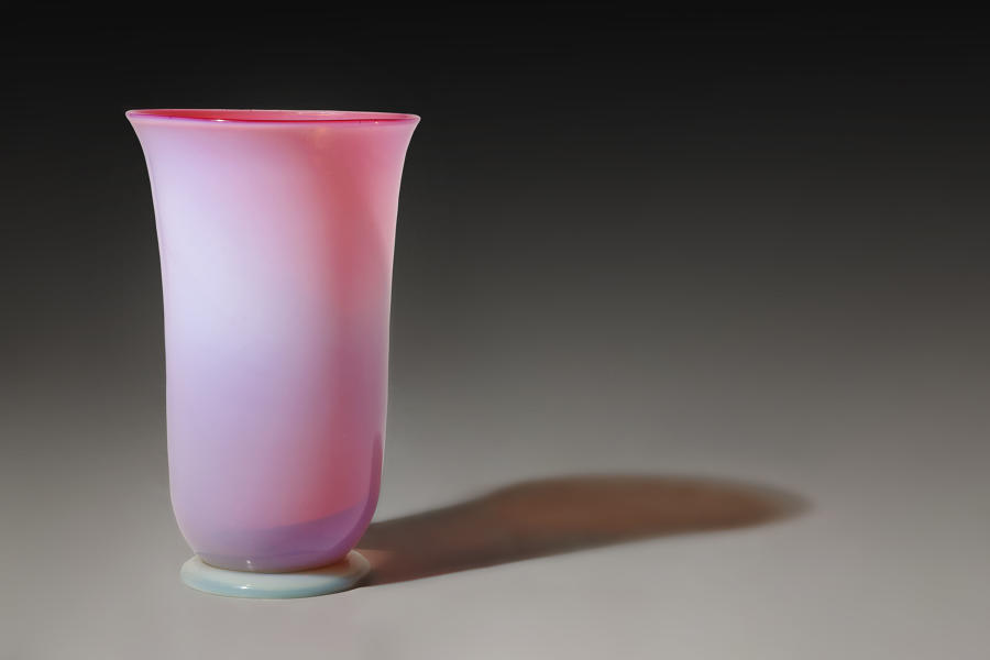 Gorge de Pigeon coloured glass vase