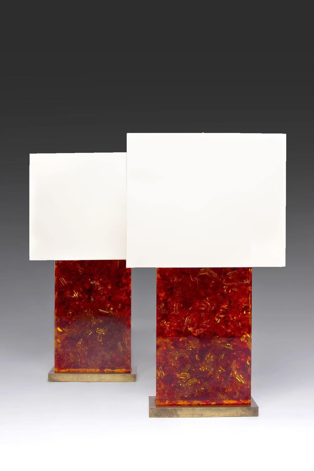 A Magnificent pair of amber coloured  de Fouquieres Lamps