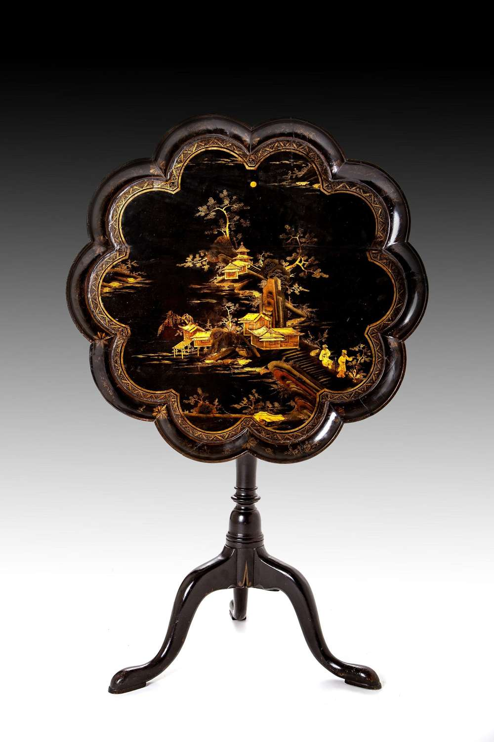 A George 111 Chinoiserie lacquer tea table