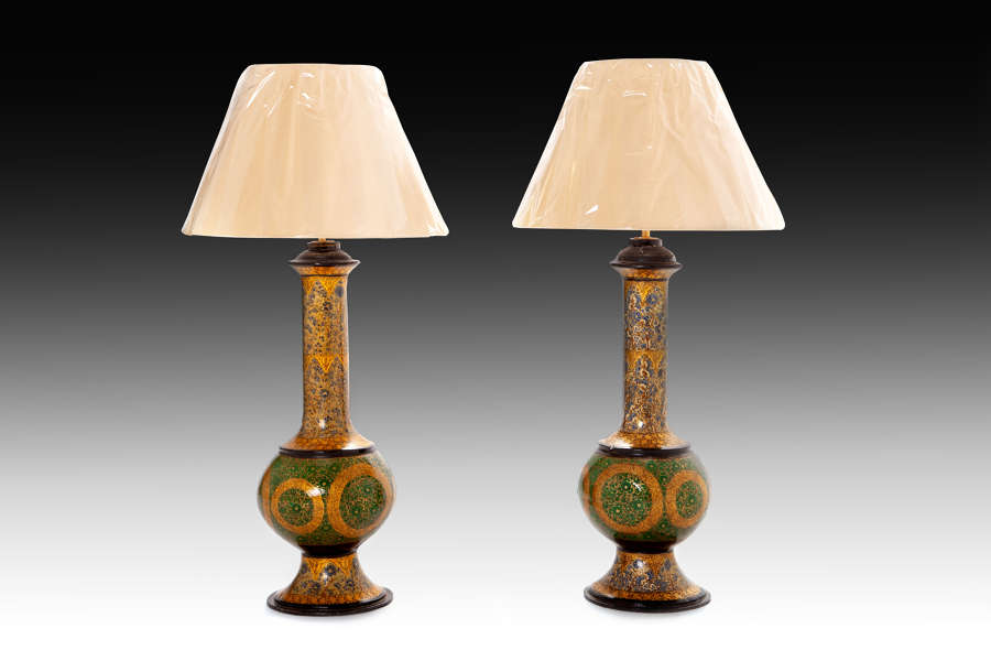 A pair of early 20th century Kashmiri lamps