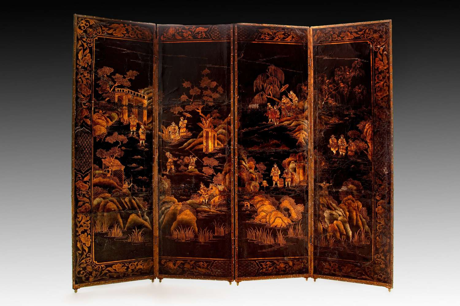 An early eighteenth century chinoiserie leather screen