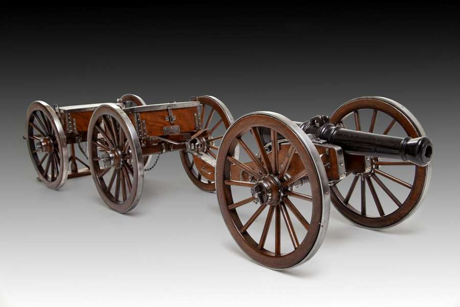 A 19th century model of a canon and carriages