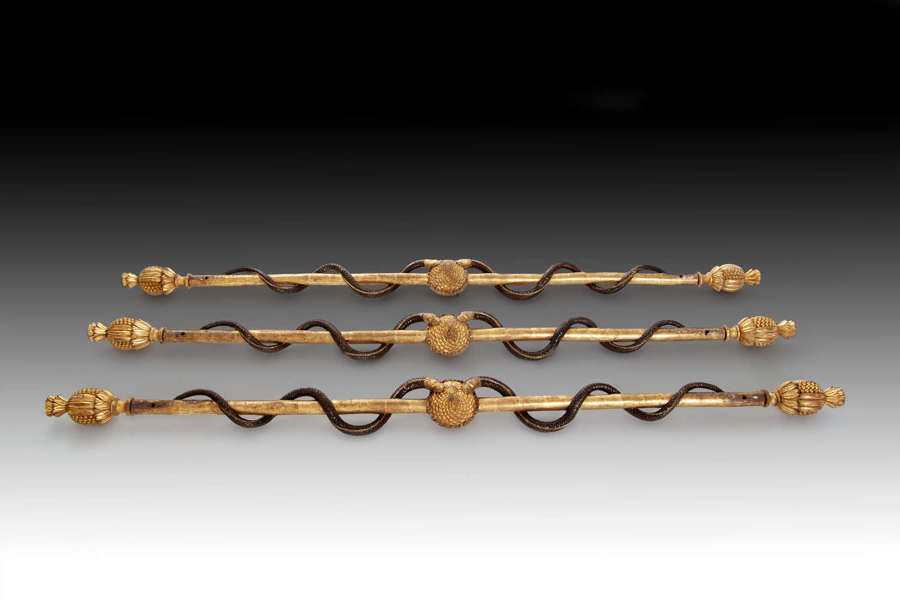 A rare set of three Empire pelmet poles