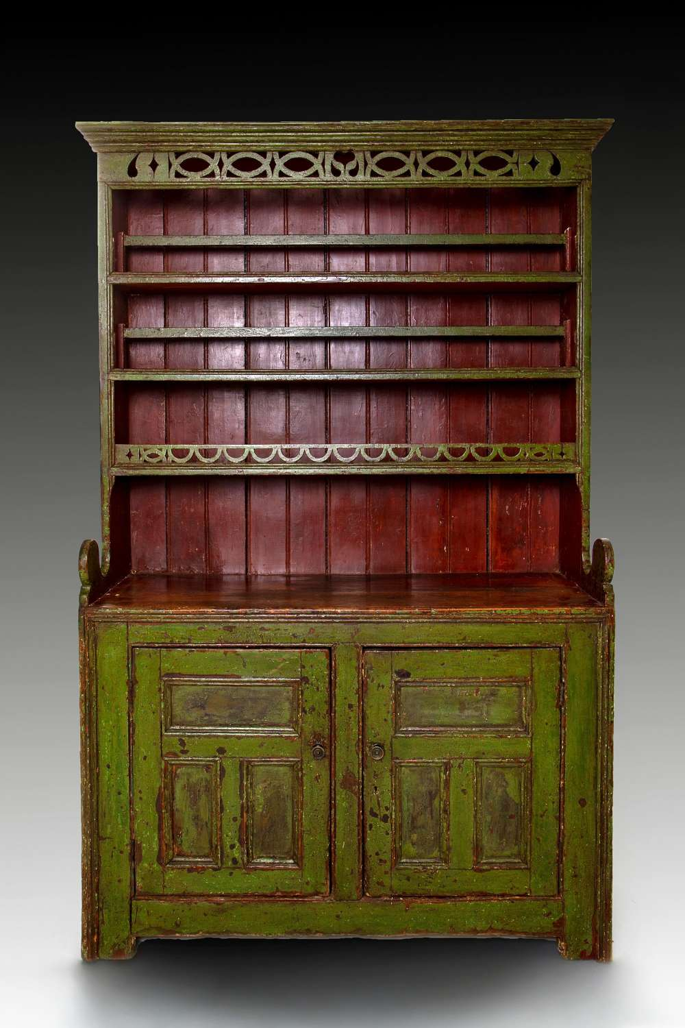 An original green painted early 19th century Irish dresser