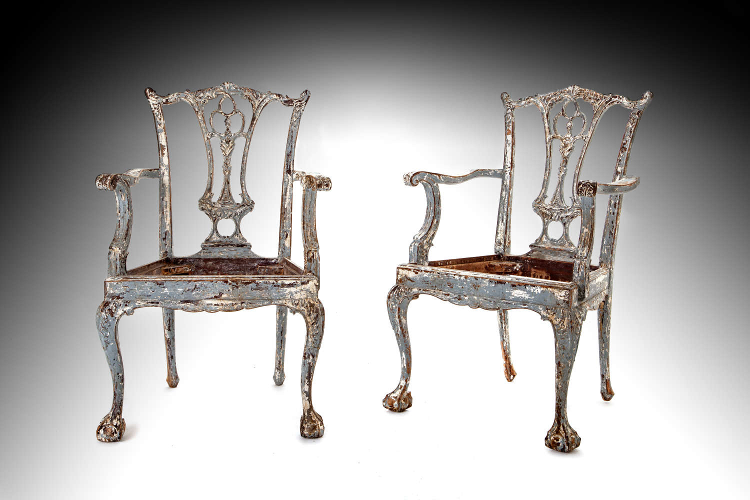 A pair of 19th century later painted armchairs