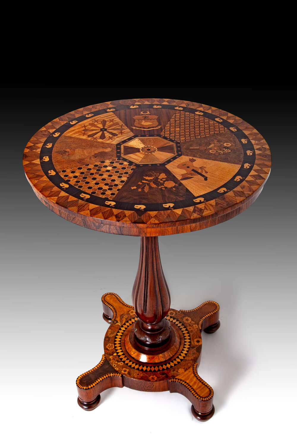 A rare early 19th century West Indian specimen wood table