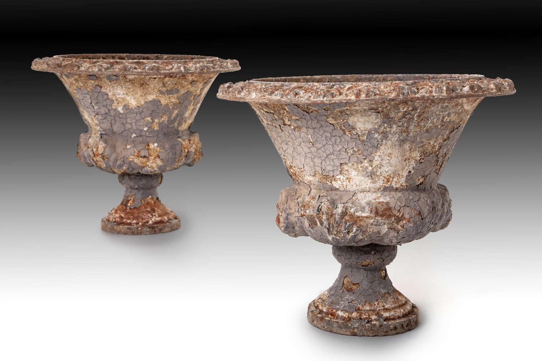 A pair of 19th century cast iron garden urns