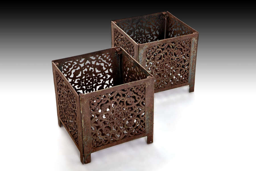 A pair of late 19th century fire baskets